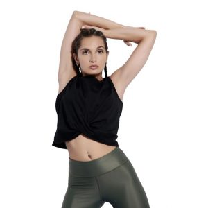 knot crop top baya black