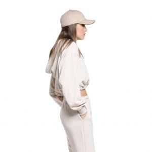 Wanderlust crop top hoodie beige