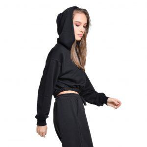wanderlust crop top hoodie black