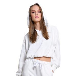 wanderlust hoodie crop top white